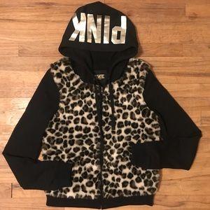 Pink Victoria secret RARE leopard zip up hoodie